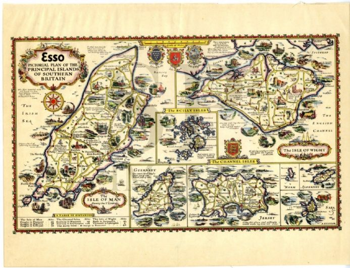 1932 Map ESSO PICTORIAL PLAN ISLE OF MAN Wight JERSEY Guernsey SARK Alderney etc. Drawn by ALFRED TAYLOR